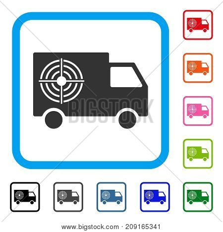 Shooting Gallery Truck icon. Flat gray pictogram symbol in a light blue rounded squared frame. Black, gray, green, blue, red, orange color versions of Shooting Gallery Truck vector.