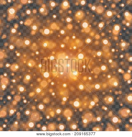 Bokeh light orange sparkles on transparency background vector illustration. Glowing glittering particles element for special Effects. Abstract design.