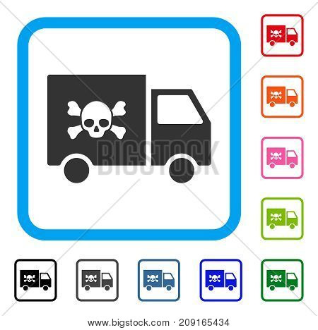 Toxic Transportation Car icon. Flat grey pictogram symbol inside a light blue rounded rectangle. Black, gray, green, blue, red, orange color variants of Toxic Transportation Car vector.