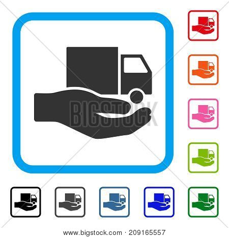 Van Delivery Service Hand icon. Flat grey pictogram symbol inside a light blue rounded frame. Black, gray, green, blue, red, orange color variants of Van Delivery Service Hand vector.