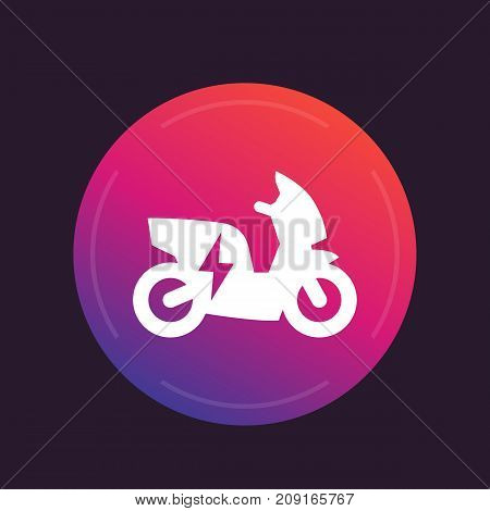 electric scooter, motorbike icon, electric vehicle, ecologic transport, vector illustration