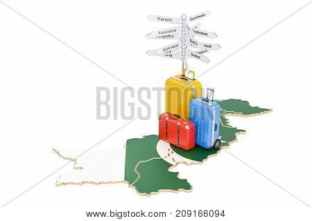 Pakistan travel concept. Pakistani map with suitcases and signpost 3D rendering