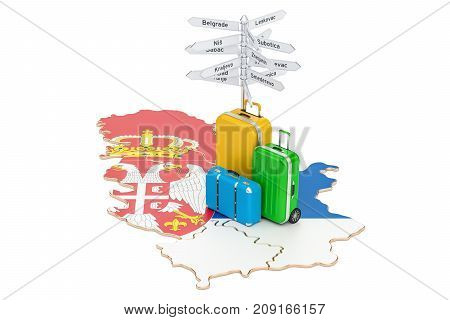 Serbia travel concept. Serbian map with suitcases and signpost 3D rendering