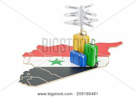 Syria travel concept. Syrian map with suitcases and signpost 3D rendering