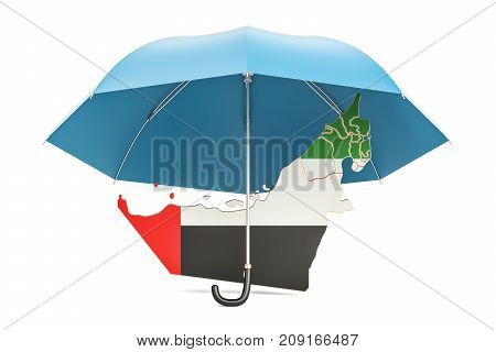 UAE map under umbrella. Security and protect concept 3D rendering