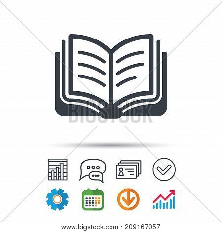 Book Icon. Study Literature Sign. Education Textbook Symbol. Statistics Chart, Chat Speech Bubble An