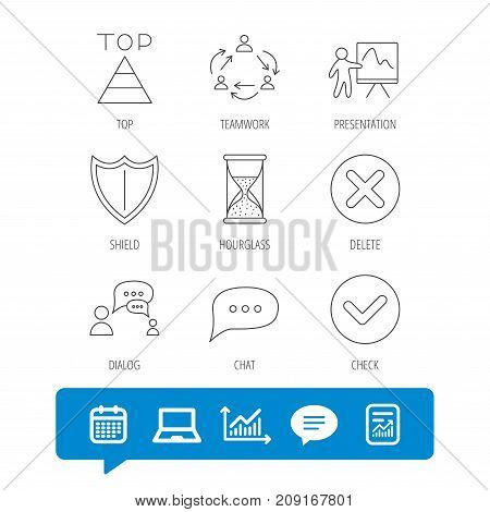 Teamwork, Presentation And Dialog Icons. Chat Speech Bubble, Shield And Pyramid Linear Signs. Check,