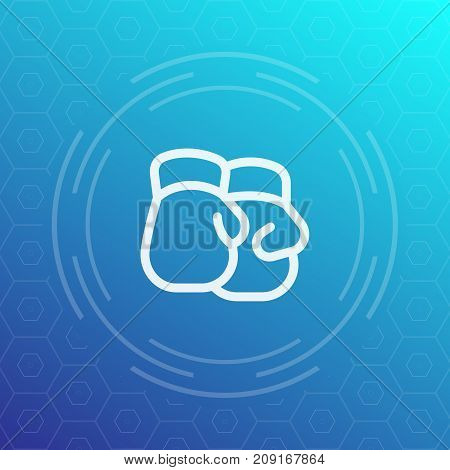 Boxing gloves icon, vector line pictogram, eps 10 file, easy to edit