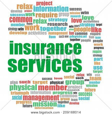 Text Insurance Services. Social Concept . Word Cloud Collage