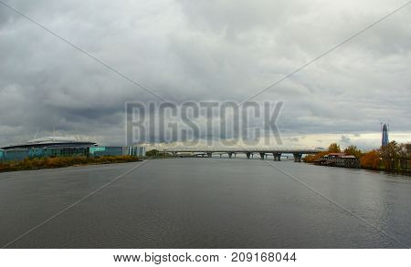 Evening in October walk along Krestovsky and Elagin Island in St. Petersburg