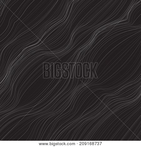 Abstract monochrome background with lots of twisted lines. The curvature of space. Swelling of the surface. Movement geometric forms.