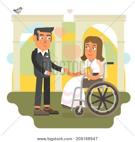 Differently abled bride on wheelchair in wedding