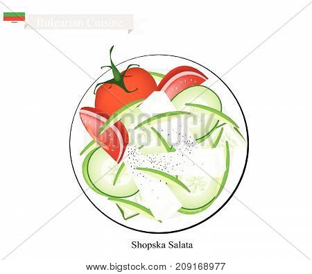Bulgarian Cuisine, Illustration of Shopsky Salad or Shopska Salata Made of Tomatoes, Cucumbers and Feta Cheese. One of The Most Famous Dish in Bulgaria.