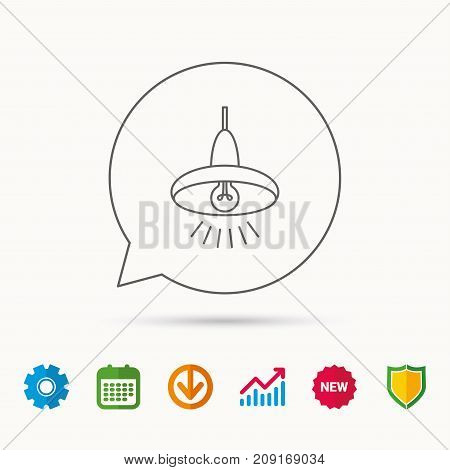 Ceiling Lamp Icon. Light Illumination Sign. Calendar, Graph Chart And Cogwheel Signs. Download And S