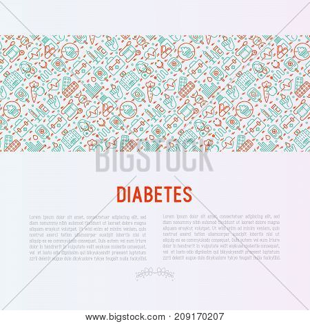 Diabetes concept with thin line icons of symptoms and prevention care. Vector illustration for background of medical survey or report, for banner, web page, print media.