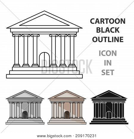 Bank icon in cartoon style isolated on white background. Money and finance symbol vector illustration.