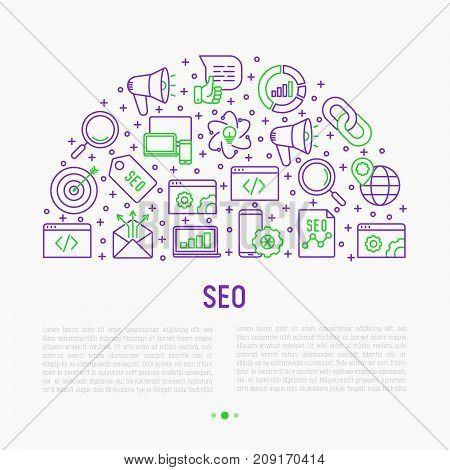 SEO and development concept in half circle with thin line icons. Vector illustration for banner, web page, print media with place for text.