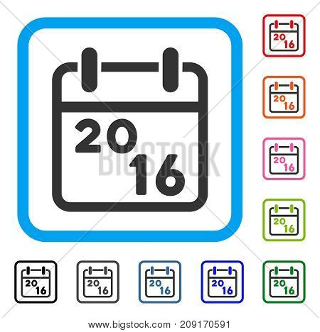 2016 Calendar icon. Flat gray pictogram symbol inside a light blue rounded rectangular frame. Black, gray, green, blue, red, orange color versions of 2016 Calendar vector.