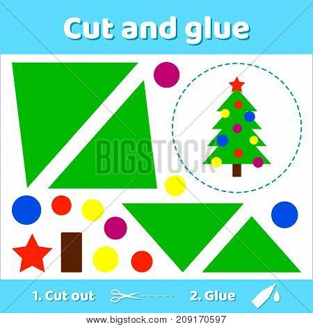 Vector illustration. Christmas tree with balls and star. Education paper game for preschool kids. Use scissors and glue to create the image.