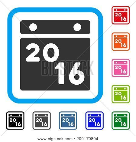2016 Calendar icon. Flat gray iconic symbol inside a light blue rounded squared frame. Black, gray, green, blue, red, orange color additional versions of 2016 Calendar vector.