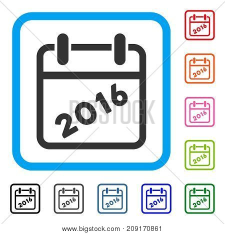 2016 Calendar icon. Flat grey iconic symbol in a light blue rounded square. Black, gray, green, blue, red, orange color variants of 2016 Calendar vector.