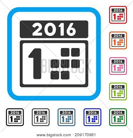 2016 Day icon. Flat grey iconic symbol in a light blue rounded rectangular frame. Black, gray, green, blue, red, orange color variants of 2016 Day vector. Designed for web and software UI.