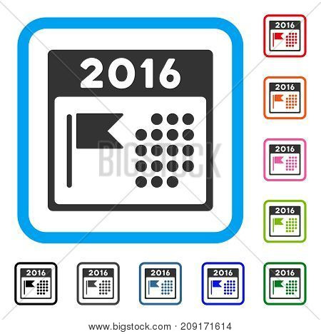 2016 Holiday Calendar icon. Flat gray iconic symbol in a light blue rounded frame. Black, gray, green, blue, red, orange color versions of 2016 Holiday Calendar vector.