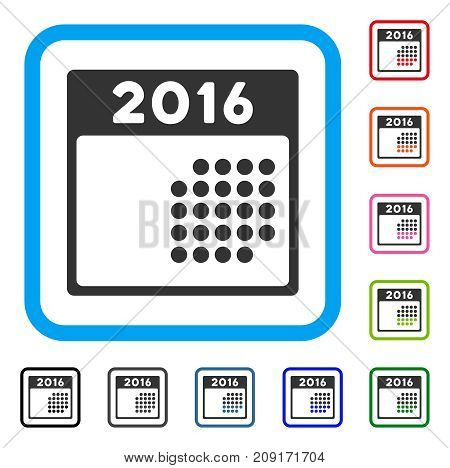 2016 Month Calendar icon. Flat gray iconic symbol in a light blue rounded frame. Black, gray, green, blue, red, orange color variants of 2016 Month Calendar vector.
