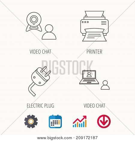 Video Chat, Printer And Electric Plug Icons. Video Conference Linear Sign. Calendar, Graph Chart And