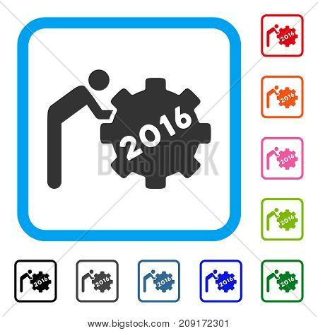 2016 Working Man icon. Flat grey iconic symbol inside a light blue rounded squared frame. Black, gray, green, blue, red, orange color versions of 2016 Working Man vector.