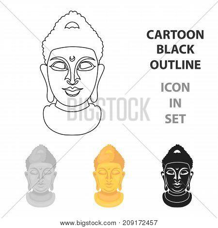 Buddha icon in cartoon style isolated on white background. Religion symbol vector illustration.