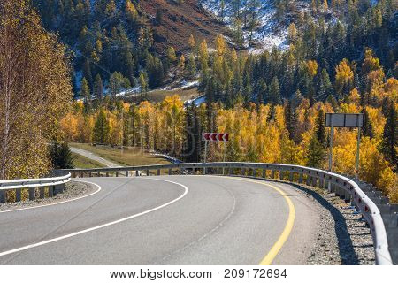 View of the landscape of the Altay Mountains and Chuya Highway in autumn, Altai Republic, Russia.