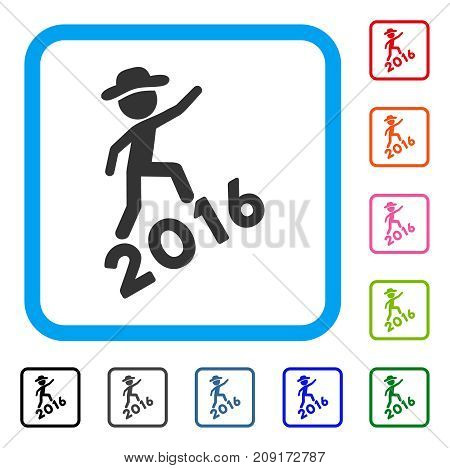 Gentleman Climbing 2016 icon. Flat grey iconic symbol inside a light blue rounded square. Black, gray, green, blue, red, orange color additional versions of Gentleman Climbing 2016 vector.