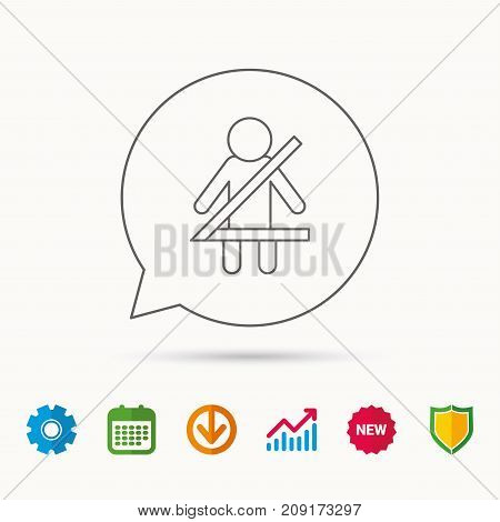Fasten seat belt icon. Human silhouette sign. Calendar, Graph chart and Cogwheel signs. Download and Shield web icons. Vector