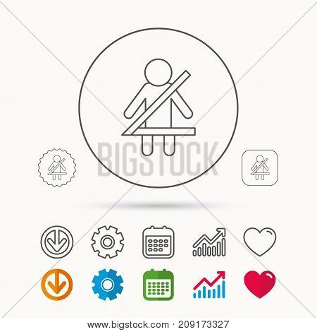 Fasten seat belt icon. Human silhouette sign. Calendar, Graph chart and Cogwheel signs. Download and Heart love linear web icons. Vector