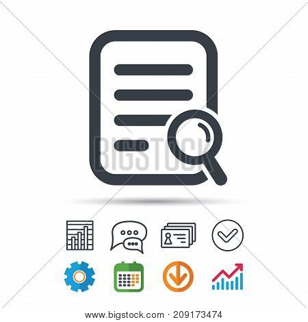 File search icon. Document page with magnifier tool symbol. Statistics chart, chat speech bubble and contacts signs. Check web icon. Vector