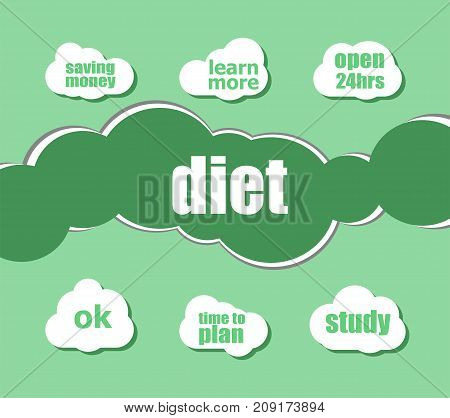 Diet Word. Health Care Concept . Infographic Business For Graphic Or Web Design Layout
