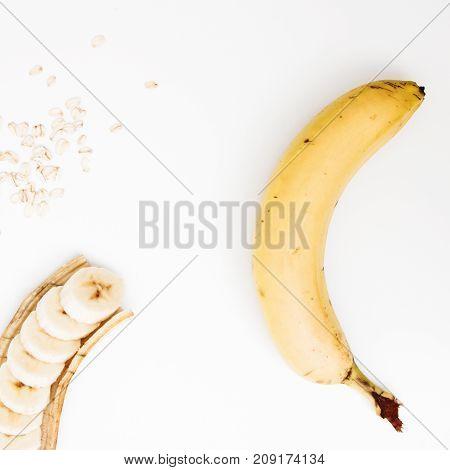 Minimal Style. Minimalist Photography. Bowl Of Oatmeal Porridge With Banana And Caramel Sauce, Hot A