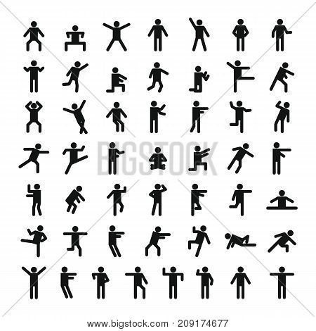 Man People Stick Icon Set, Simple Style