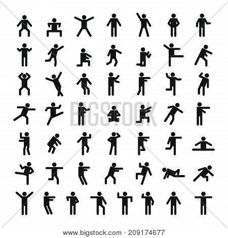 Man People Stick Icon Set, Simple Style