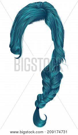 trendy women hairs blue colour . plait . fashion beauty style .