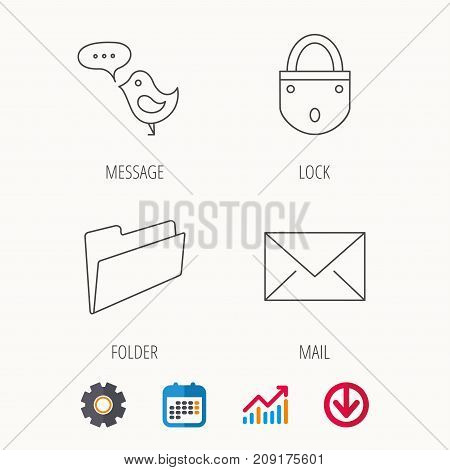 Lock, folder hand and e-mail icons. Bird message linear sign. Calendar, Graph chart and Cogwheel signs. Download colored web icon. Vector