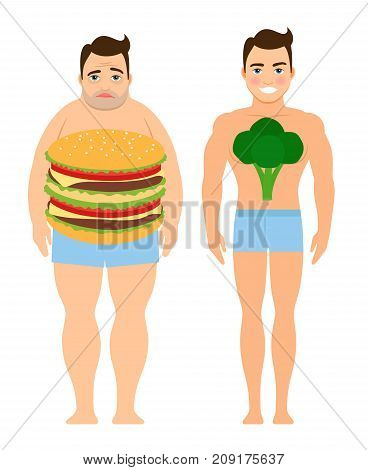 Man on a diet concept vector illustration. Man eating burgers or eating healthy food result