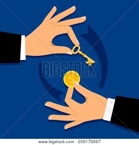 Businessman hands giving money for key. Buing vector illustration