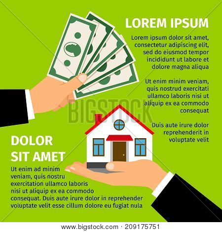 Buy house poster with men hands paying money for the home building. Vector real estate illustration on bright green background