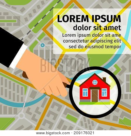 Search house vector illustration. Man hand holding magnifying glass and looking for a house on map
