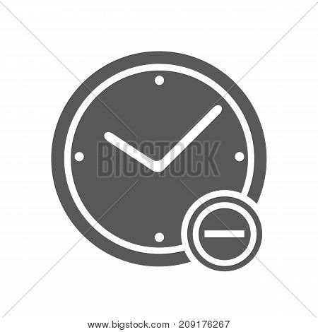 Time minus icon. Vector simple illustration of time minus icon isolated on white background