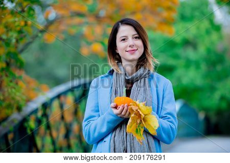 Woman Holding Yellow Maple Tree Leaves And Pumkin In Autum Park