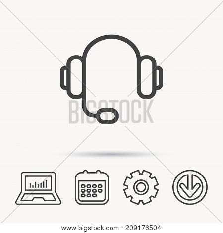 Headphones with microphone icon. Musical notes signs. Notebook, Calendar and Cogwheel signs. Download arrow web icon. Vector