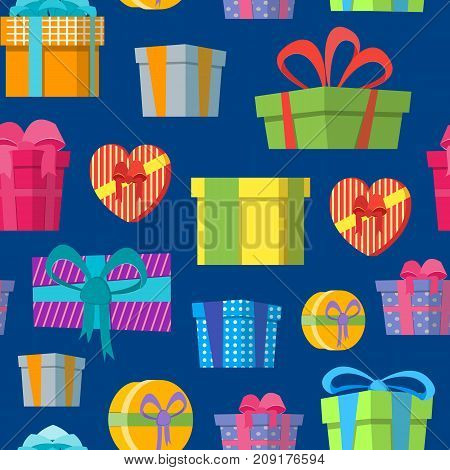 Cartoon Color Gift Boxes Background Pattern on a Blue Flat Style Design Elements for Celebration or Holiday. Present Birthday Card Vector illustration